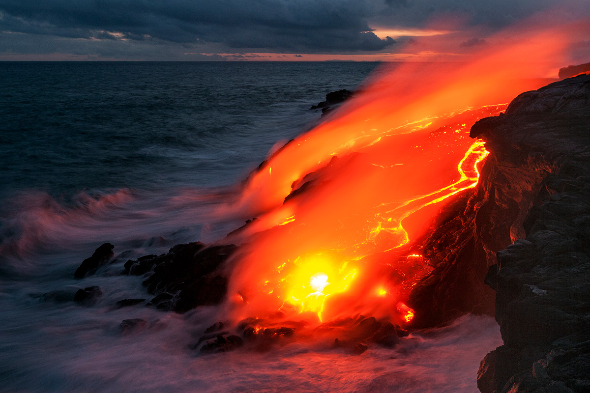The last light of the day disappears as the lava shows it are to stay.
