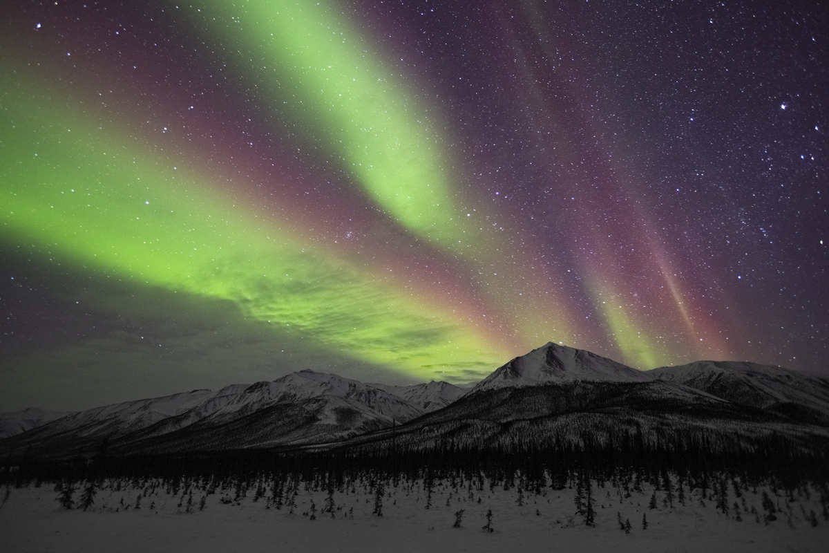 Vibrant tones of purple, red and green Northern Lights dominate the sky.
