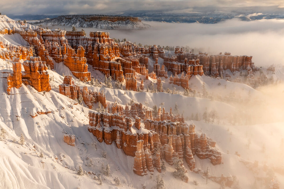 Taken at sunset point this is a classic view of the Hoodoos in Bryce Canyon. Although a classic view the conditions with having...