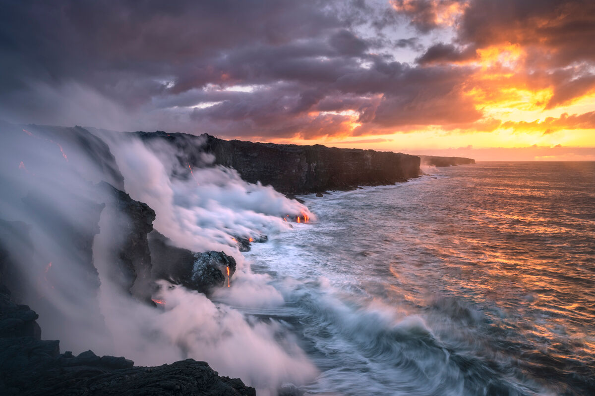 This particular image was one of the most dramatic scenes I have ever seen out on the Kalapana Coastline.  Most of the time when...
