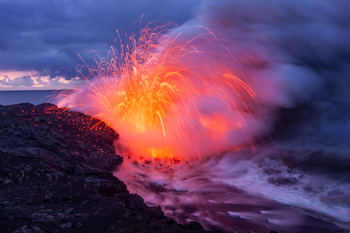 The lava on this morning exploded for hours on end and just as the sun starting coming up everything came together with the vibrant...