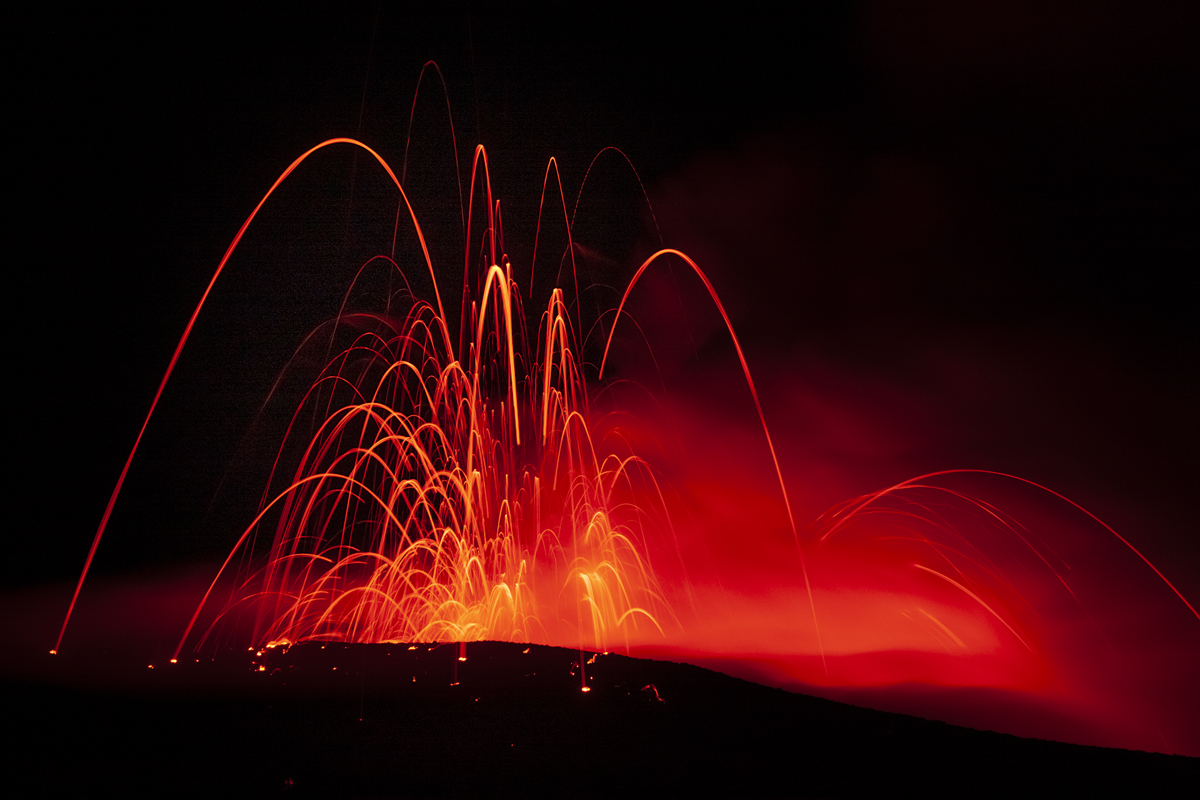 Lava burst our of the ground creating spider like formation.