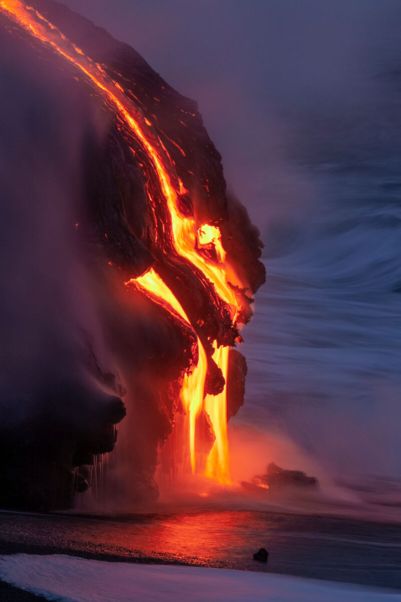 Many times shooting the lava hitting the ocean the rocks have many shape liked faces as seen in this image.