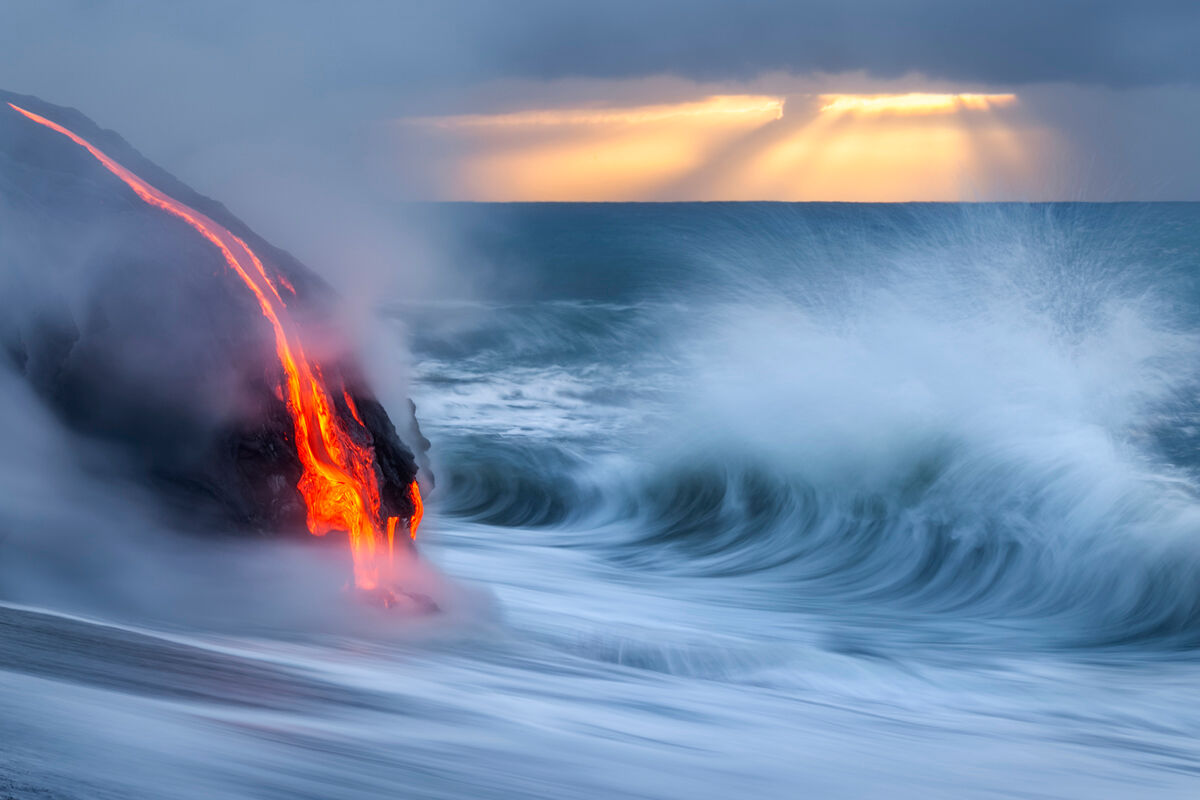 On this morning the conditions were extremely unique.  Most days photographing on the Kalapana Coastline I would be standing...