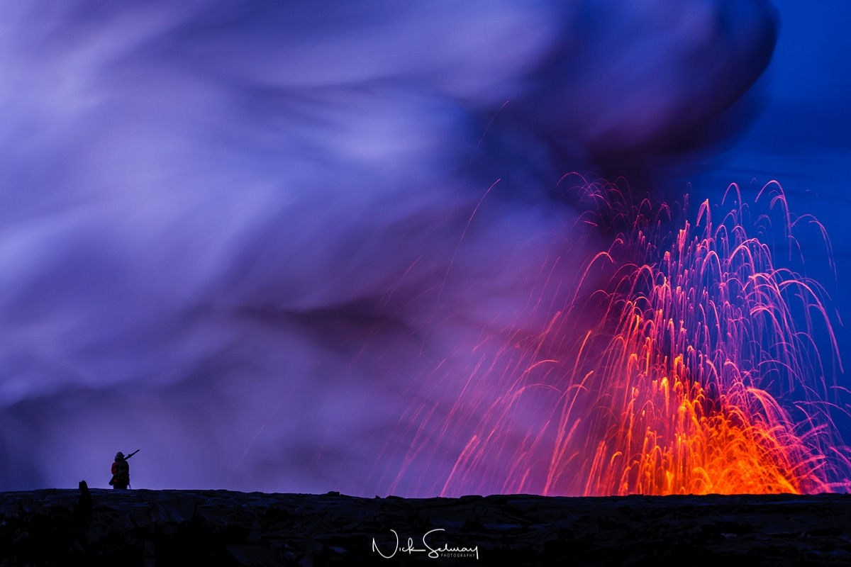 In this beautiful image of Hawaiian lava, lava erupts out of the ground high into the sky. Shop this print & a variety of lava photography from Hawaii for sale