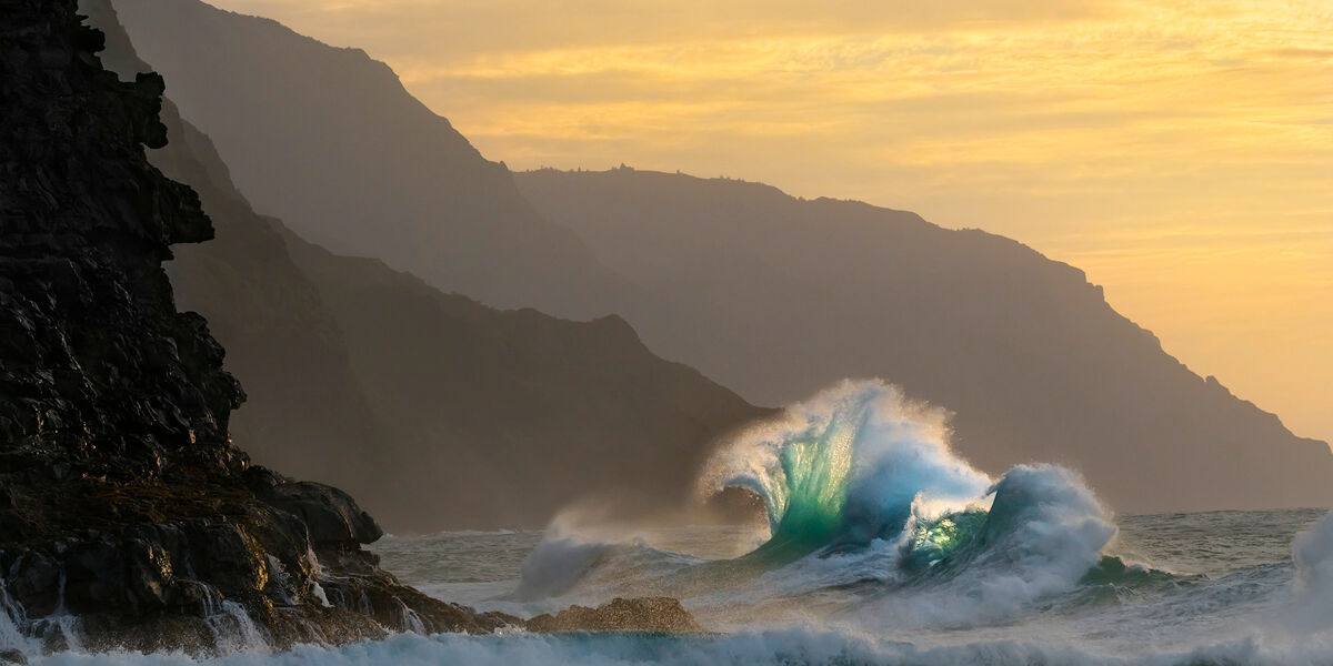 "Fine Art Limited Edition of 100 A strong North West swell crashes up against the world famous ""Napali Coast"" at sunset.  Ke'..."